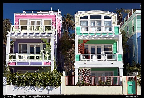 Colorful Beach Houses Santa Monica Los Angeles California USA