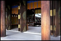 Wooden pilars and hall, Meiji-jingu Shrine. Tokyo, Japan ( color)