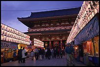 Nakamise-dori and  Senso-ji temple at dusk. Tokyo, Japan