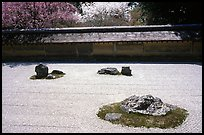 Classic stone and raked sand Zen garden, Ryoan-ji Temple. Kyoto, Japan