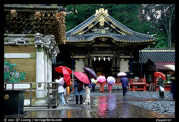 Honden (main hall) of Tosho-gu Shrine on a rainy day. Nikko, Japan