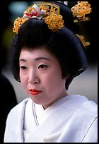 Bride with traditional make-up. Tokyo, Japan (color)