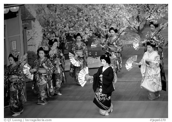 Miyako Odori (cherry blossom dance) performed at the Gion Kobu Kaburen-jo theatre. Kyoto, Japan