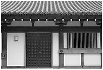 Roof and wall detail, Sanjusangen-do Temple. Kyoto, Japan ( black and white)