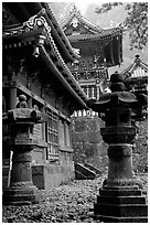 Urns, pavilion, and main hall in Tosho-gu Shrine. Nikko, Japan (black and white)