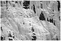 Wide frozen waterfall called Weeping Wall in early season. Banff National Park, Canadian Rockies, Alberta, Canada (black and white)