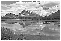 Canoe on first Vermillion Lake, afternon. Banff National Park, Canadian Rockies, Alberta, Canada (black and white)