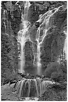 Tangle Falls. Jasper National Park, Canadian Rockies, Alberta, Canada (black and white)