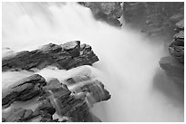 Water flowing over Gog quartzite in Athabasca Falls. Jasper National Park, Canadian Rockies, Alberta, Canada ( black and white)