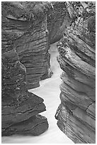 Narrow canyon at the base of Athabasca Falls. Jasper National Park, Canadian Rockies, Alberta, Canada ( black and white)