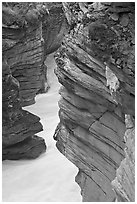 Gorge at the base of Athabasca Falls. Jasper National Park, Canadian Rockies, Alberta, Canada ( black and white)