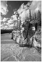 Athabasca River and cliff, late afternoon. Jasper National Park, Canadian Rockies, Alberta, Canada ( black and white)
