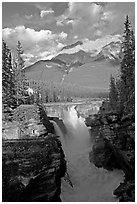Athabasca Falls and Mt Kerkeslin, late afternoon. Jasper National Park, Canadian Rockies, Alberta, Canada (black and white)