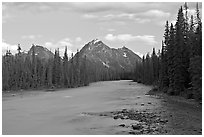 Whirlpool River and Whirlpool Peak, sunset. Jasper National Park, Canadian Rockies, Alberta, Canada ( black and white)