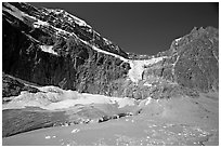 Mt Edith Cavell, Angel Glacier, and turquoise glacial lake. Jasper National Park, Canadian Rockies, Alberta, Canada (black and white)