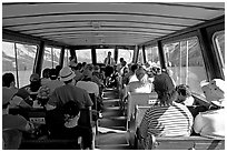Aboard the tour boat on Maligne Lake. Jasper National Park, Canadian Rockies, Alberta, Canada (black and white)