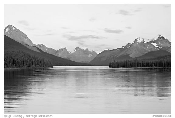 Maligne Lake, the largest in the Canadian Rockies, sunset. Jasper National Park, Canadian Rockies, Alberta, Canada (black and white)