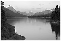 Maligne River outlet and Maligne Lake, sunset. Jasper National Park, Canadian Rockies, Alberta, Canada (black and white)