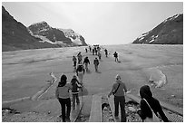 Tourists walking onto  Athabasca Glacier. Jasper National Park, Canadian Rockies, Alberta, Canada ( black and white)