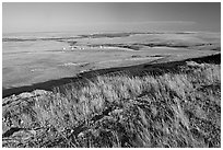 Plain seen from the top of the cliff, late afternoon, Head-Smashed-In Buffalo Jump. Alberta, Canada (black and white)