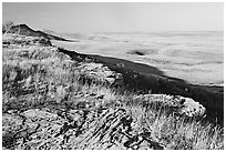 Prairie and foothills seen from the top of the cliff,  Head-Smashed-In Buffalo Jump. Alberta, Canada (black and white)