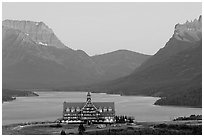 Prince of Wales hotel and upper Waterton Lake, dusk. Waterton Lakes National Park, Alberta, Canada (black and white)