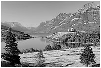 Waterton Lakes. Waterton Lakes National Park, Alberta, Canada ( black and white)
