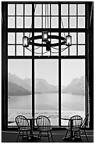 Waterton Lake seen though the immense picture windows of Prince of Wales hotel. Waterton Lakes National Park, Alberta, Canada ( black and white)