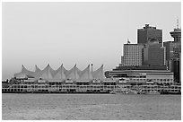 Canada Place and skyline at dusk. Vancouver, British Columbia, Canada ( black and white)