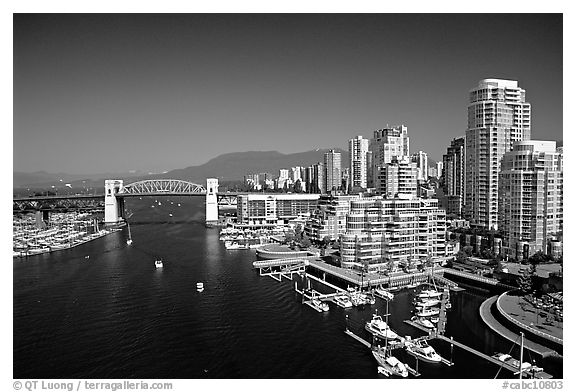 Burrard Bridge, harbor, and high-rise residential buildings. Vancouver, British Columbia, Canada (black and white)