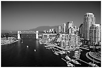 Burrard Bridge, harbor, and high-rise residential buildings. Vancouver, British Columbia, Canada ( black and white)
