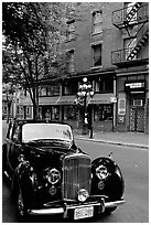 Classic car in Water Street. Vancouver, British Columbia, Canada ( black and white)