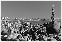 Balanced rocks, Stanley Park. Vancouver, British Columbia, Canada (black and white)