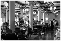 Dining hall of Empress hotel. Victoria, British Columbia, Canada (black and white)