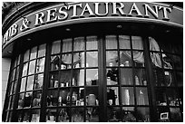 Pub and restaurant windows. Victoria, British Columbia, Canada ( black and white)