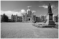 Lawn, statue of Queen Victoria for whom the city was named, and parliament. Victoria, British Columbia, Canada ( black and white)