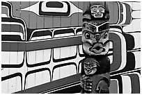 Totem and motif painted on the wall of carving studio. Victoria, British Columbia, Canada ( black and white)