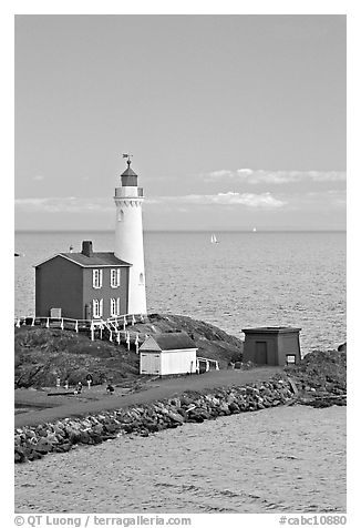 Fisgard Lighthouse National Historic Site. Victoria, British Columbia, Canada (black and white)