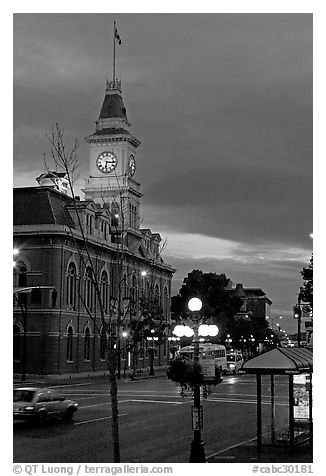City Hall and Douglas Street at dawn. Victoria, British Columbia, Canada (black and white)