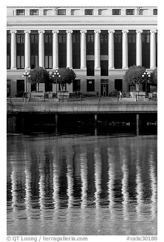 Buildings with columns and reflections. Victoria, British Columbia, Canada (black and white)