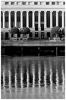 Buildings with columns and reflections. Victoria, British Columbia, Canada ( black and white)