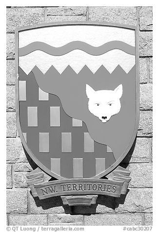 Shield of North-West Territories. Victoria, British Columbia, Canada (black and white)