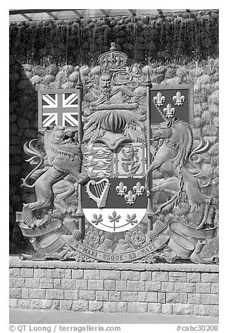 Shield of Canada. Victoria, British Columbia, Canada (black and white)
