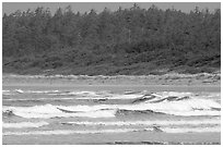 Waves washing on Long Beach. Pacific Rim National Park, Vancouver Island, British Columbia, Canada (black and white)