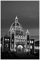 Parliament illuminated at night. Victoria, British Columbia, Canada ( black and white)