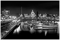 Inner harbor and parliament at night. Victoria, British Columbia, Canada ( black and white)