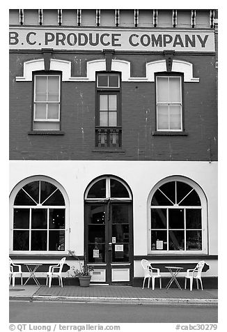 Produce company building reconverted into a cafe. Victoria, British Columbia, Canada (black and white)