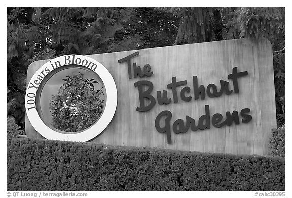 Entrance sign of Butchard Gardens. Butchart Gardens, Victoria, British Columbia, Canada (black and white)
