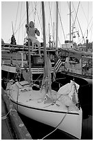Girl swinging from the mast of a small sailboat, Inner Harbour. Victoria, British Columbia, Canada ( black and white)