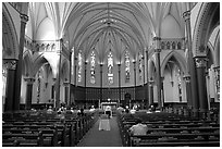 Interior of church. Victoria, British Columbia, Canada ( black and white)